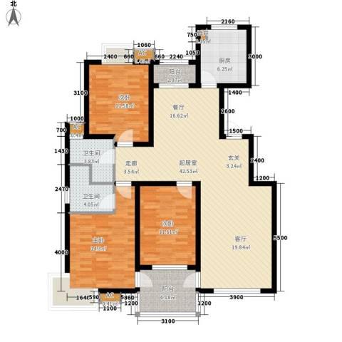 万锦花语岸3室0厅2卫1厨125.00㎡户型图
