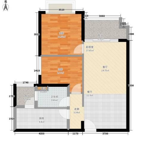 恒大帝景2室0厅1卫1厨89.00㎡户型图