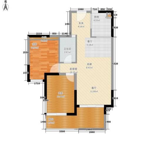 鲁能三亚湾2室0厅1卫1厨95.00㎡户型图