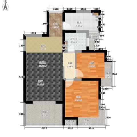 紫薇曲江意境2室0厅1卫1厨88.00㎡户型图
