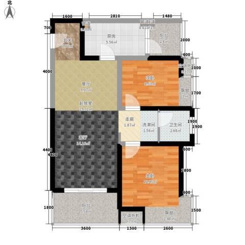 紫薇曲江意境2室0厅1卫1厨86.00㎡户型图