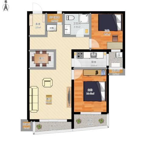 新世家小区2室2厅1卫1厨82.00㎡户型图