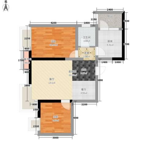 大兴新悦城2室0厅1卫1厨73.00㎡户型图