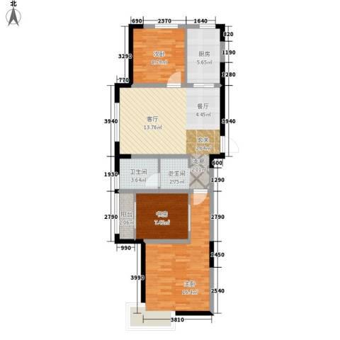 今创启园3室1厅1卫1厨80.00㎡户型图