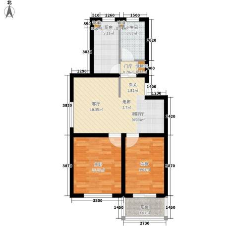 龙溪清雅园2室1厅1卫1厨81.00㎡户型图