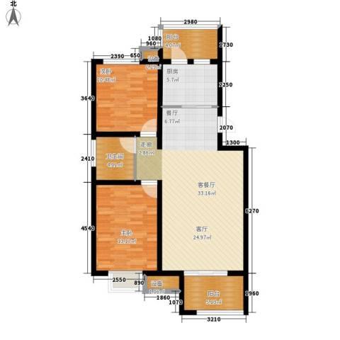 龙湾福泰花园2室1厅1卫1厨97.00㎡户型图