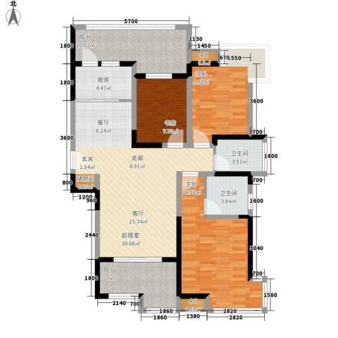 金业观湖大第3室0厅2卫1厨135.00㎡户型图