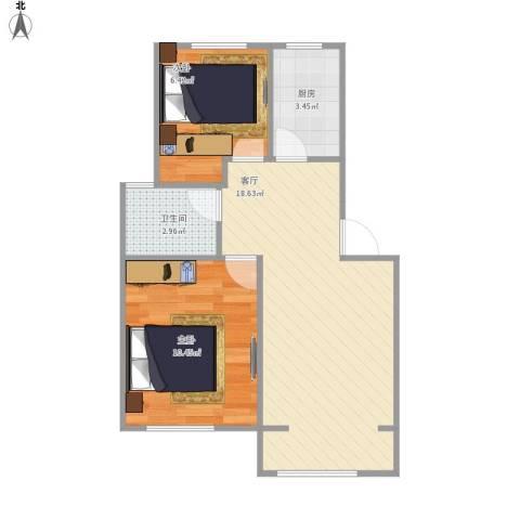 春雷路354弄小区2室1厅1卫1厨57.00㎡户型图