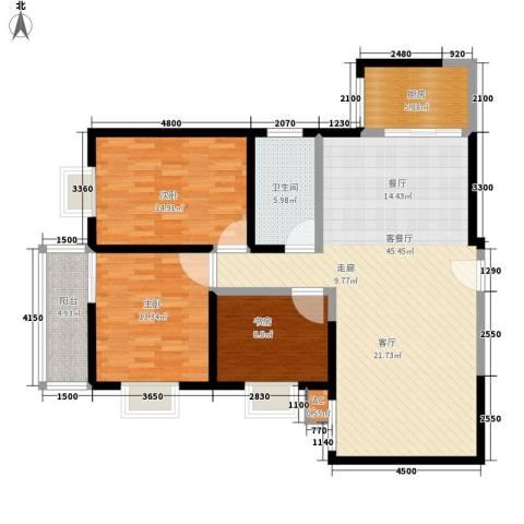 高科花园3室1厅1卫1厨122.00㎡户型图