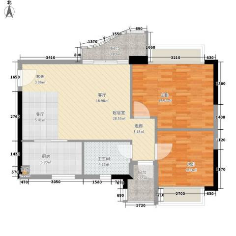阳光假日园2室0厅1卫1厨76.00㎡户型图