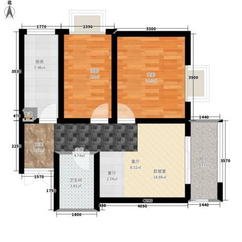 左岸春天2室0厅1卫1厨75.00㎡户型图