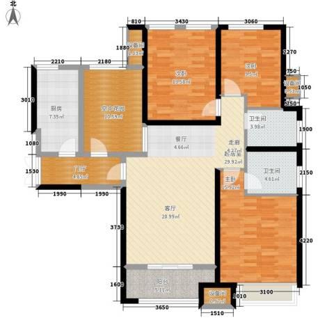 复地优尚国际3室0厅2卫1厨124.00㎡户型图