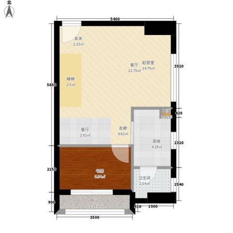 铂林国际公寓1室0厅1卫1厨52.00㎡户型图