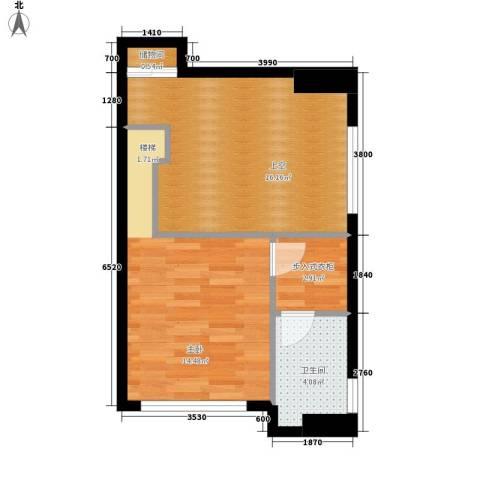 铂林国际公寓1室0厅1卫0厨52.00㎡户型图