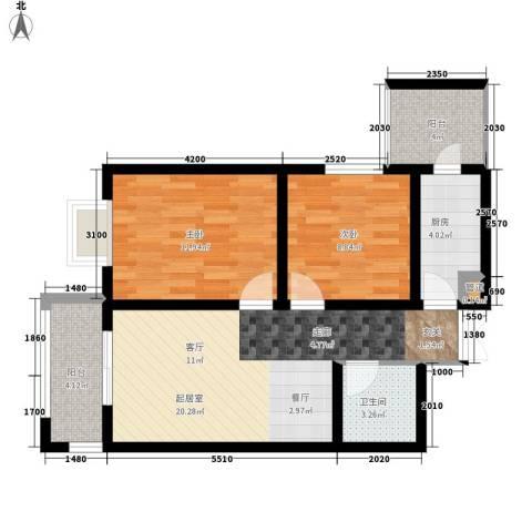 左岸春天2室0厅1卫1厨87.00㎡户型图
