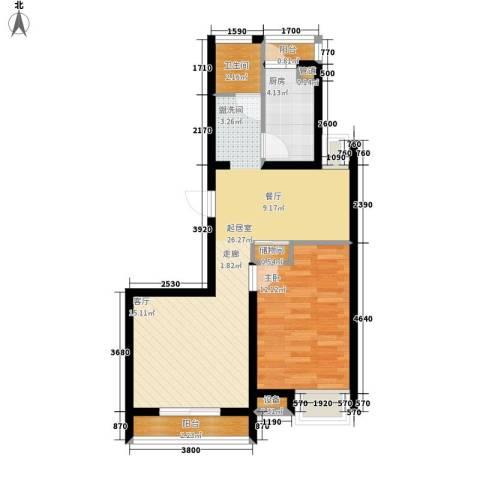 天房美域1室0厅1卫1厨70.00㎡户型图