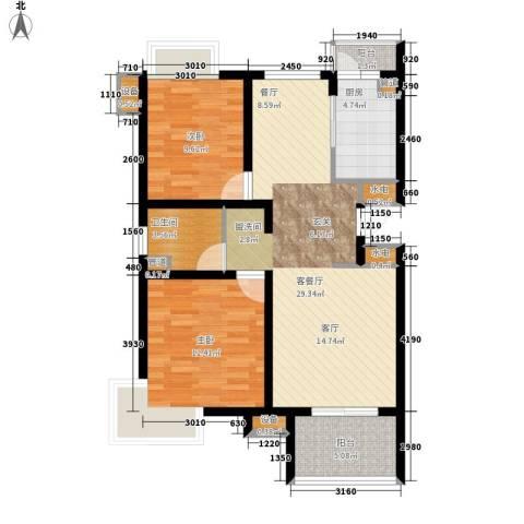 天房美域2室1厅1卫1厨110.00㎡户型图