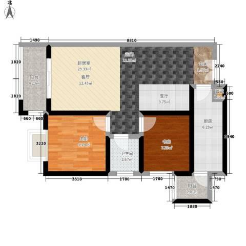 左岸春天2室0厅1卫1厨90.00㎡户型图