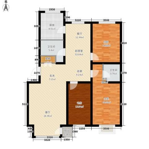 万锦花语岸3室0厅2卫1厨135.00㎡户型图