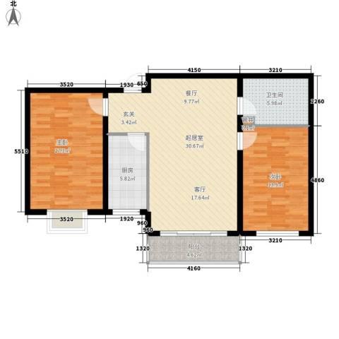万锦花语岸2室0厅1卫1厨88.00㎡户型图