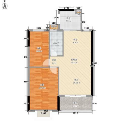 惠百氏广场2室0厅1卫1厨74.00㎡户型图
