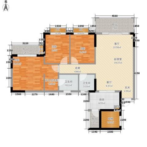 金河湾家园3室0厅2卫1厨121.00㎡户型图