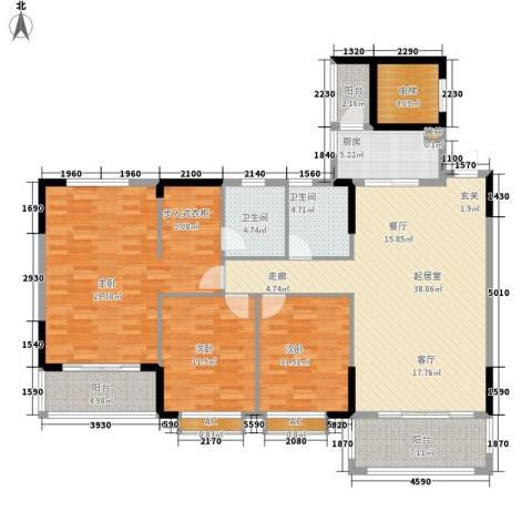 金河湾家园3室0厅2卫1厨142.00㎡户型图