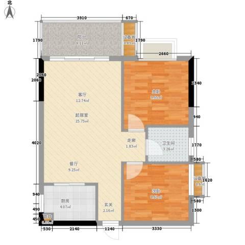 惠百氏广场2室0厅1卫1厨67.00㎡户型图