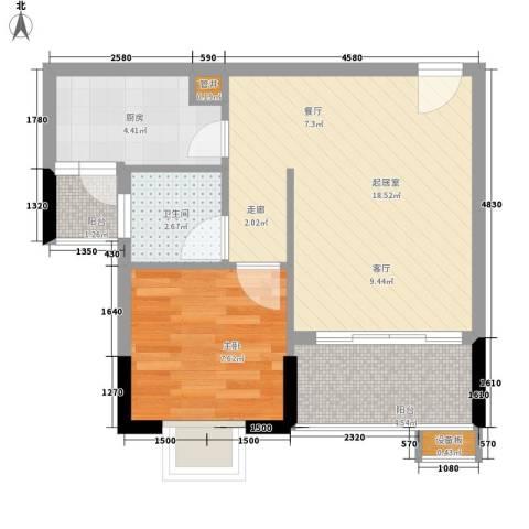 惠百氏广场1室0厅1卫1厨47.00㎡户型图