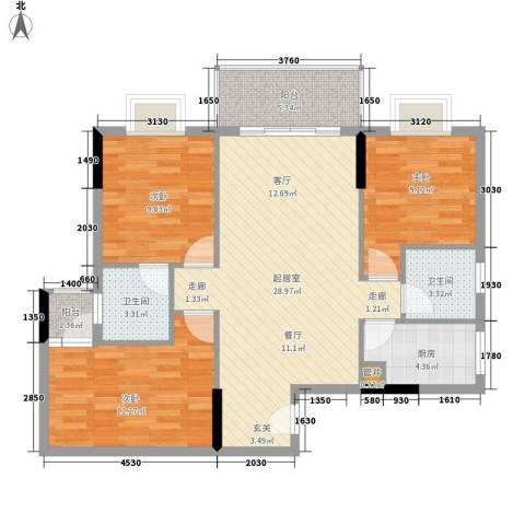 惠百氏广场3室0厅2卫1厨88.00㎡户型图