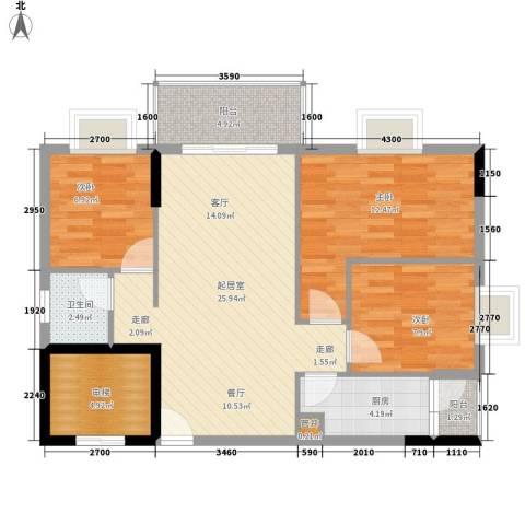 惠百氏广场3室0厅1卫1厨81.00㎡户型图