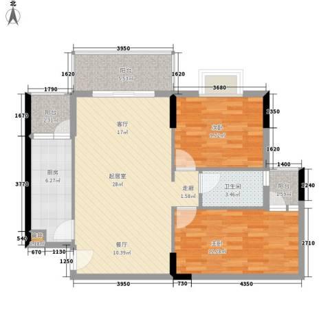 惠百氏广场2室0厅1卫1厨78.00㎡户型图