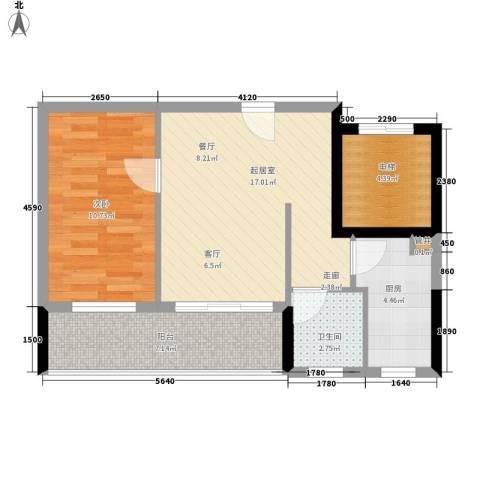 惠百氏广场1室0厅1卫1厨55.00㎡户型图
