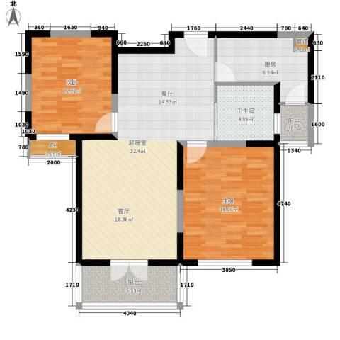 军安商住2室0厅1卫1厨92.00㎡户型图