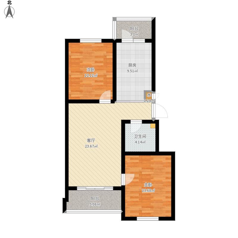 D户型两室一厅一厨一卫