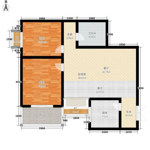 军安商住2室0厅1卫1厨105.00㎡户型图