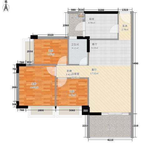 阳光假日园3室0厅1卫1厨92.00㎡户型图