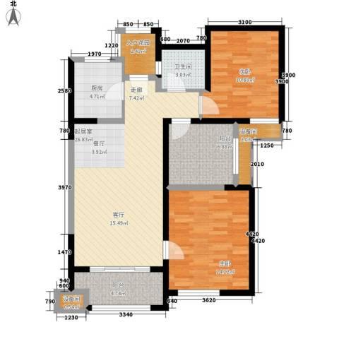 复地优尚国际2室0厅1卫1厨89.00㎡户型图