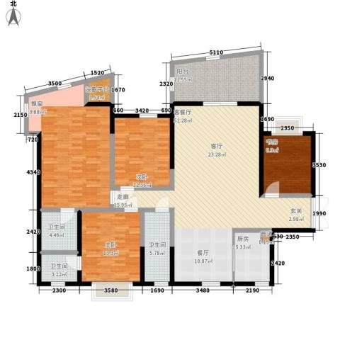 观澜湖云台4室1厅3卫1厨250.00㎡户型图