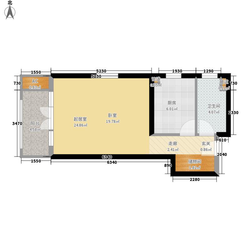 路劲i主场48.00㎡4#楼E1面积4800m户型