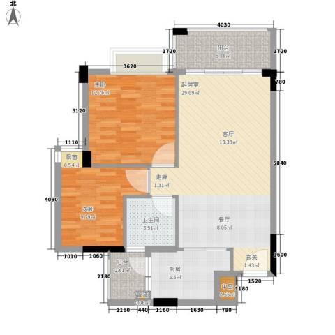 阳光假日园2室0厅1卫1厨71.00㎡户型图