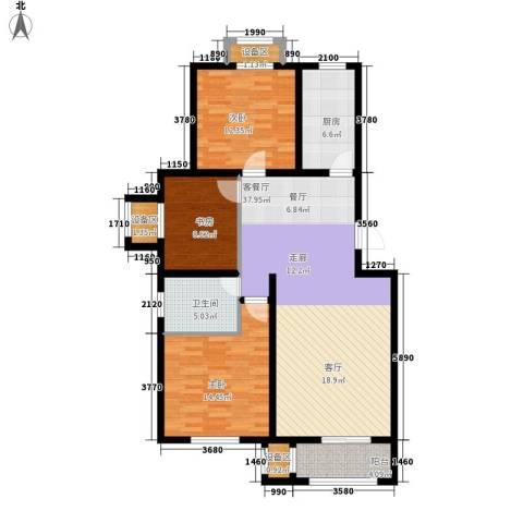 盛世峰景3室1厅1卫1厨132.00㎡户型图