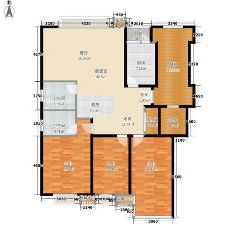 苏宁馨瑰园3室0厅2卫1厨154.00㎡户型图