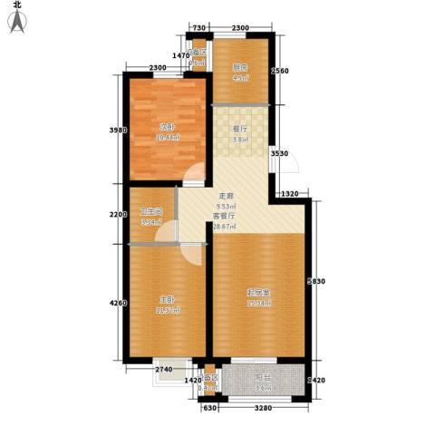 盛世峰景2室1厅1卫1厨92.00㎡户型图