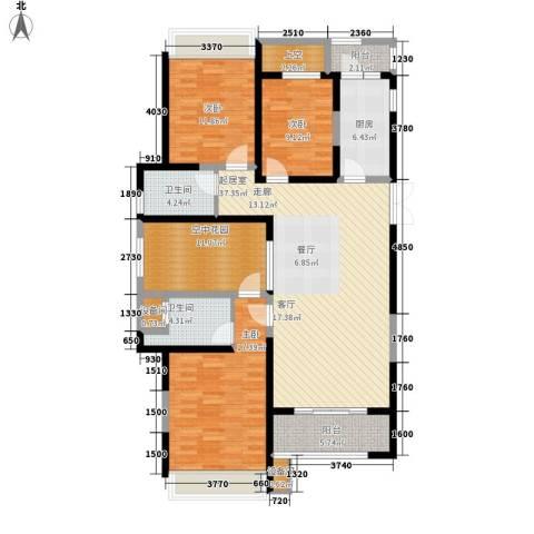 复地优尚国际3室0厅2卫1厨130.00㎡户型图