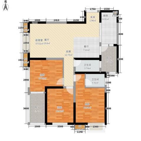阳光台3653室0厅2卫1厨132.00㎡户型图