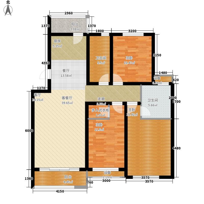 龙湾福泰花园128.40㎡多层标准层A1户型