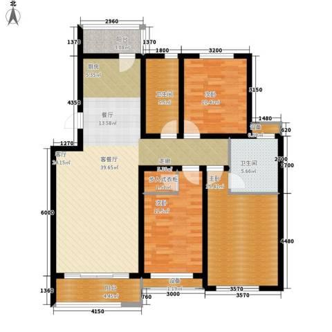 龙湾福泰花园3室1厅2卫0厨128.00㎡户型图