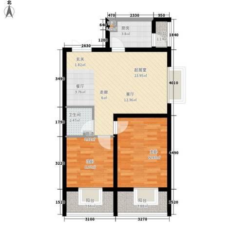 左岸春天2室0厅1卫1厨78.00㎡户型图