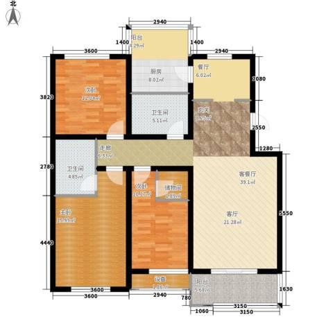 龙湾福泰花园3室1厅2卫1厨136.00㎡户型图
